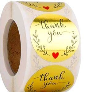 "♥️50 Thank You Gold Foil Stickers 1.5"" {4 left}"